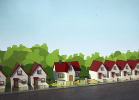 Illustration of a row of houses