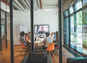 Meeting room with video conference