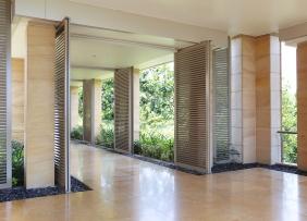 Office building interior corridor