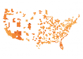 Orange map of metropolitan statistical areas in the U.S.