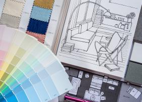 Paint, fabric, and tile samples, floor plan, and room sketch