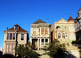 Row houses on a hill