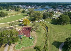 Aerial view of Meadowbrook Park, Prairie Village, Kansas