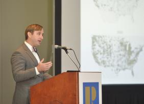 FHFA senior economist William Doerner demonstrates helpful data tools at the REALTORS® Conference & Expo in Chicago.