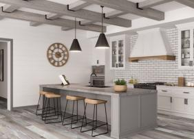 Woodbeams in a kitchen