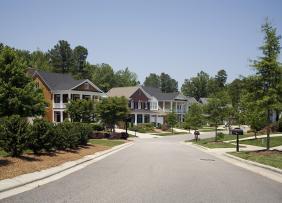 Street view of a suburban neighborhood