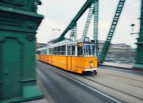 Tram on bridge