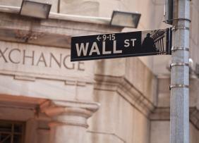Wall Street street sign in Manhattan, New York City.