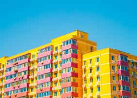 Yellow and pink, modern style apartment building