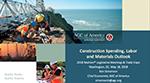 Cover of Ken Simonson's presentation slides on Construction Spending, Labor and Materials Outlook