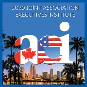 2020 Joint Association Executives Institute logo featuring the American and Canadian flag, San Deigo, CA in background