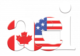 Association Executive Institute logo with the Canadian and American flags covering the A and E of abbreviation