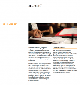 cover image of Chubb publication discussing EPL Assist, or Employment Practices Legal Hotline