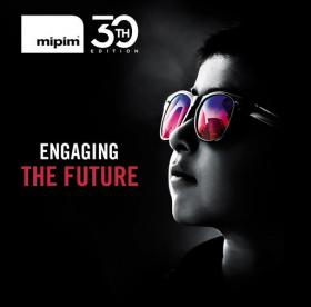 MIPIM 2019 conference logo person wearing sunglasses
