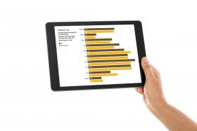 Horizontal iPad with bar graph