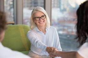 Businesswoman in glasses at job interview