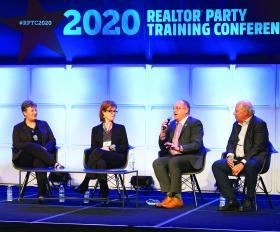 AEC Chair John Sebree with AEs on stage at the 2020 REALTOR® Party Training Conference