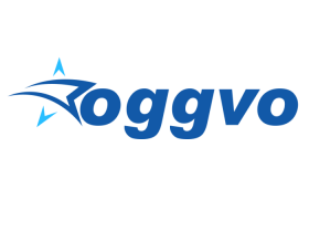 oggvo logo in blue lettering with star logo and clear background