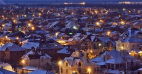 Town at night in winter