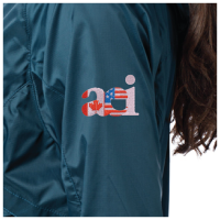 Dark green Windbreaker jackets with a close up on the Joint AEI logo for 2020