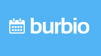 Burbio logo in white lettering with blue background