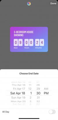 Instagram stories countdown sticker, displaying an interactive countdown timer.