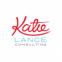 Katie Lance Consulting logo in red, blue and grey ink